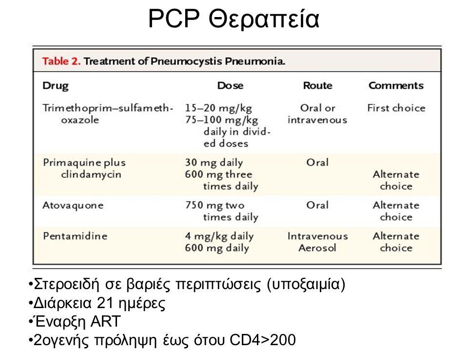 PCP Θεραπεία Στεροειδή σε βαριές περιπτώσεις (υποξαιμία) Διάρκεια 21 ημέρες Έναρξη ART 2ογενής πρόληψη έως ότου CD4>200