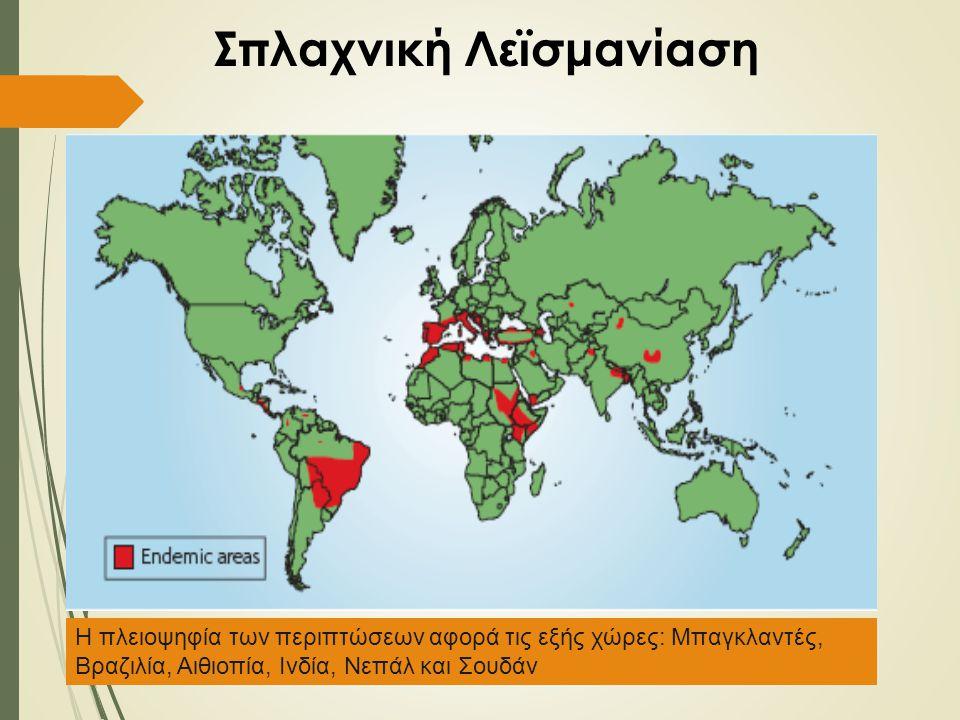 Σπλαχνική Λεϊσμανίαση Η πλειοψηφία των περιπτώσεων αφορά τις εξής χώρες: Μπαγκλαντές, Βραζιλία, Αιθιοπία, Ινδία, Νεπάλ και Σουδάν
