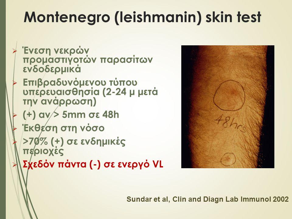 Montenegro (leishmanin) skin test  Ένεση νεκρών προμαστιγοτών παρασίτων ενδοδερμικά  Επιβραδυνόμενου τύπου υπερευαισθησία (2-24 μ μετά την ανάρρωση)