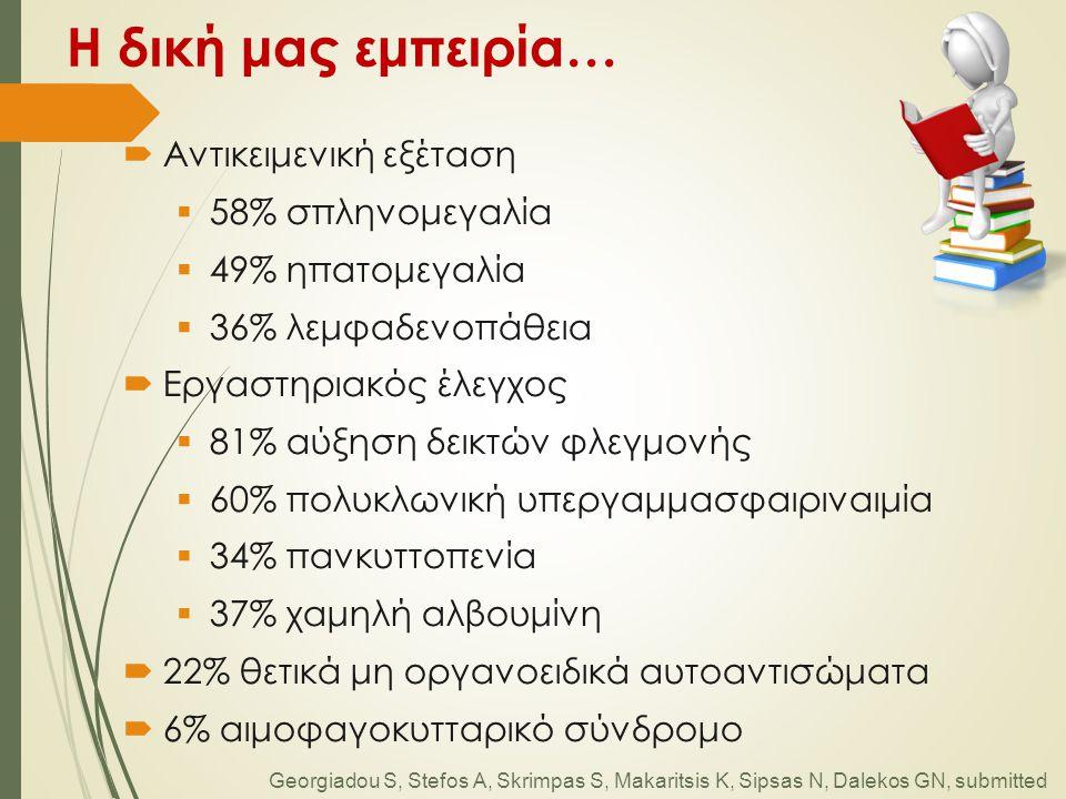 Η δική μας εμπειρία…  Αντικειμενική εξέταση  58% σπληνομεγαλία  49% ηπατομεγαλία  36% λεμφαδενοπάθεια  Εργαστηριακός έλεγχος  81% αύξηση δεικτών