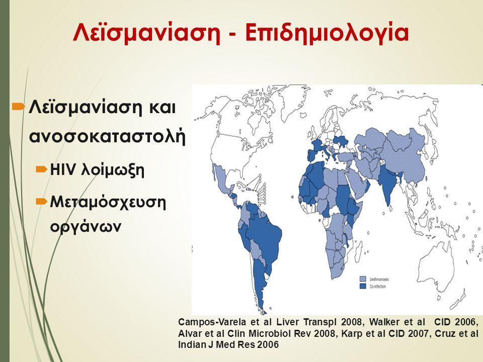 Λεϊσμανίαση - Επιδημιολογία  Λεϊσμανίαση και ανοσοκαταστολή  HIV λοίμωξη  Μεταμόσχευση οργάνων Campos-Varela et al Liver Transpl 2008, Walker et al