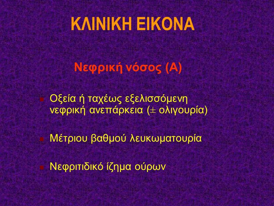KΛINIKH EIKONA Νεφρική νόσος (Α) Οξεία ή ταχέως εξελισσόμενη νεφρική ανεπάρκεια (± ολιγουρία) Μέτριου βαθμού λευκωματουρία Νεφριτιδικό ίζημα ούρων