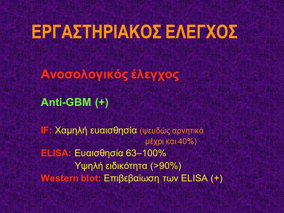 ΕΡΓΑΣΤΗΡΙΑΚΟΣ ΕΛΕΓΧΟΣ Ανοσολογικός έλεγχος Αnti-GBM (+) IF: Χαμηλή ευαισθησία (ψευδώς αρνητικά μέχρι και 40%) ΕLISA: Ευαισθησία 63–100% Υψηλή ειδικότη
