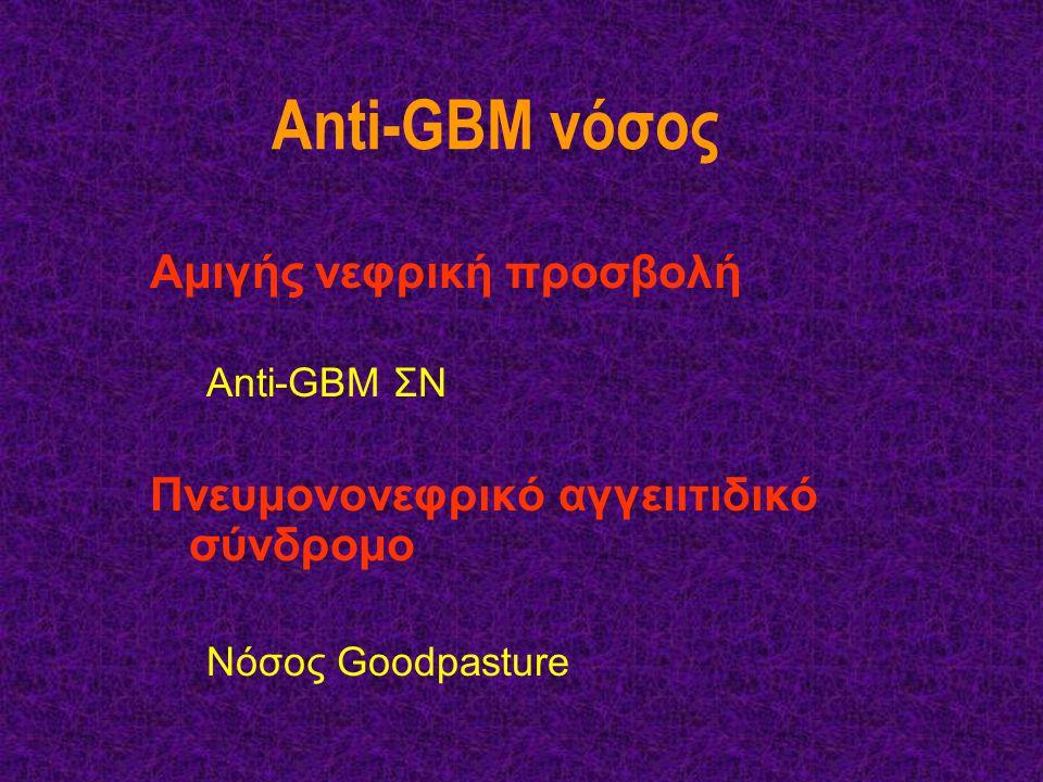 Anti-GBM νόσος Αμιγής νεφρική προσβολή Anti-GBM ΣΝ Πνευμονονεφρικό αγγειιτιδικό σύνδρομο Νόσος Goodpasture