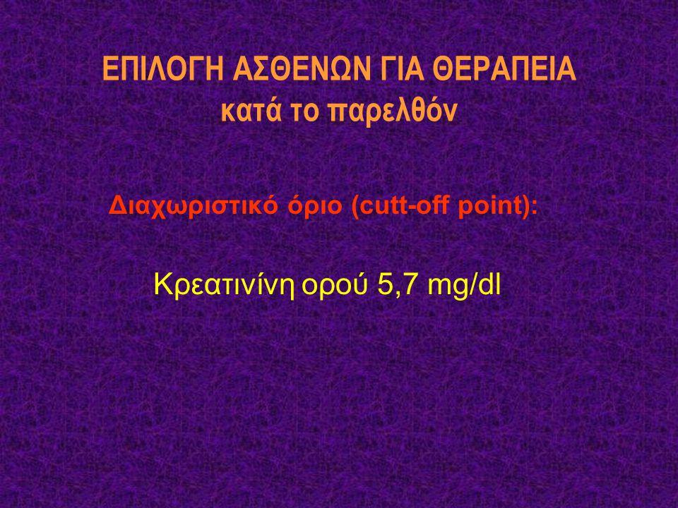ΕΠΙΛΟΓΗ ΑΣΘΕΝΩΝ ΓΙΑ ΘΕΡΑΠΕΙΑ κατά το παρελθόν Διαχωριστικό όριο (cutt-off point): Κρεατινίνη ορού 5,7 mg/dl
