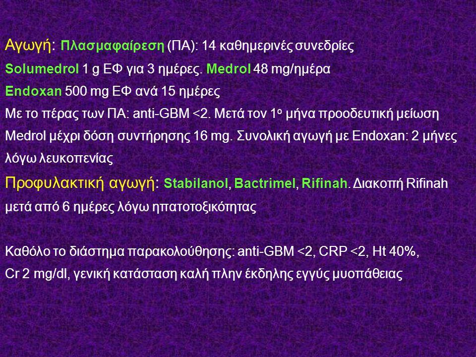 Αγωγή: Πλασμαφαίρεση (ΠΑ): 14 καθημερινές συνεδρίες Solumedrol 1 g ΕΦ για 3 ημέρες. Medrol 48 mg/ημέρα Endoxan 500 mg ΕΦ ανά 15 ημέρες Με το πέρας των