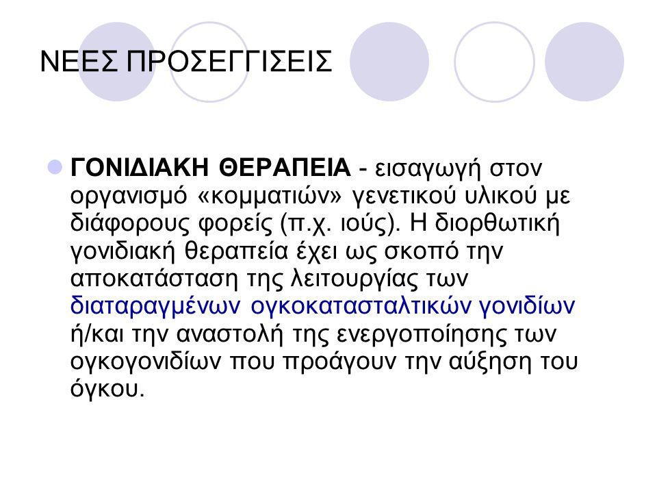 ΝΕΕΣ ΠΡΟΣΕΓΓΙΣΕΙΣ ΓΟΝΙΔΙΑΚΗ ΘΕΡΑΠΕΙΑ - εισαγωγή στον οργανισμό «κομματιών» γενετικού υλικού με διάφορους φορείς (π.χ. ιούς). Η διορθωτική γονιδιακή θε