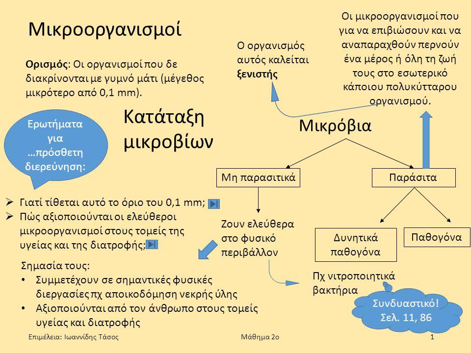 Επιμέλεια: Ιωαννίδης Τάσος Μάθημα 2ο1 Μικροοργανισμοί Ορισμός: Οι οργανισμοί που δε διακρίνονται με γυμνό μάτι (μέγεθος μικρότερο από 0,1 mm). Ερωτήμα