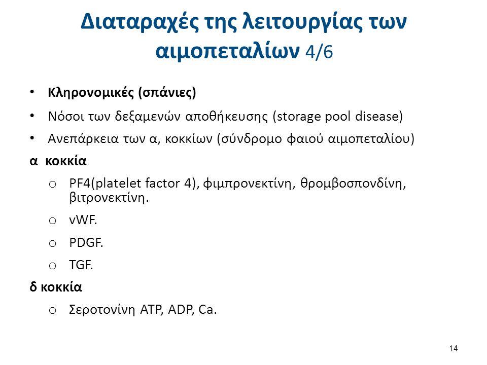 Κληρονομικές (σπάνιες) Νόσοι των δεξαμενών αποθήκευσης (storage pool disease) Ανεπάρκεια των α, κοκκίων (σύνδρομο φαιού αιμοπεταλίου) α κοκκία o PF4(p