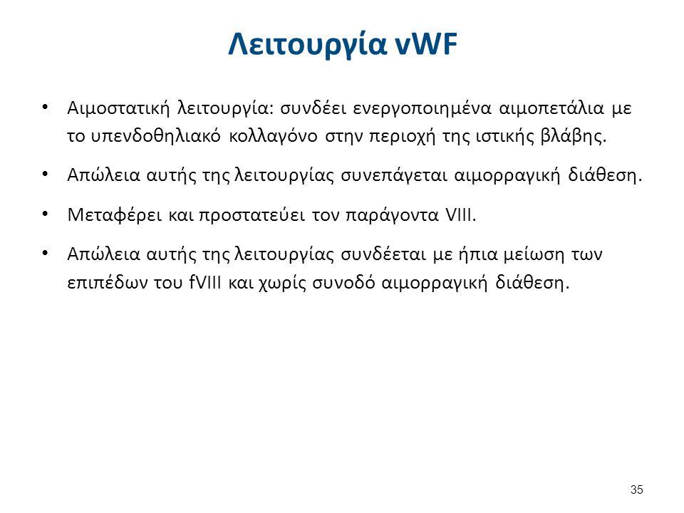 Λειτουργία vWF 35 Αιμοστατική λειτουργία: συνδέει ενεργοποιημένα αιμοπετάλια με το υπενδοθηλιακό κολλαγόνο στην περιοχή της ιστικής βλάβης. Απώλεια αυ