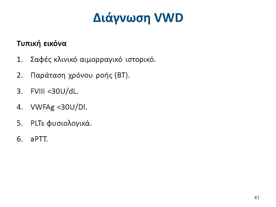 41 Διάγνωση VWD Τυπική εικόνα 1.Σαφές κλινικό αιμορραγικό ιστορικό. 2.Παράταση χρόνου ροής (BT). 3.FVIII <30U/dL. 4.VWFAg <30U/Dl. 5.PLTs φυσιολογικά.