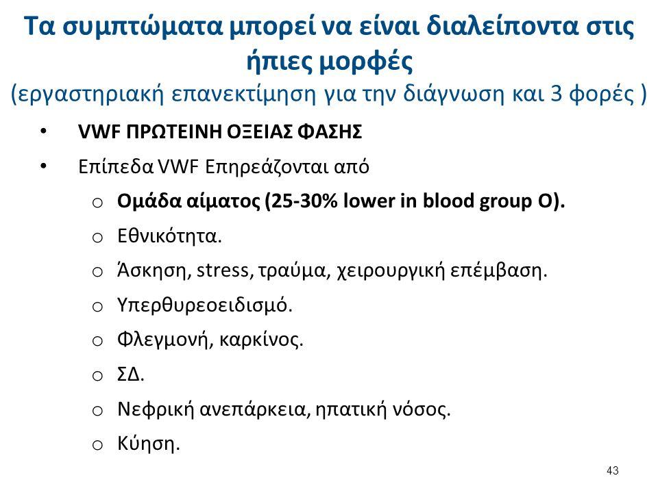VWF ΠΡΩΤΕΙΝΗ ΟΞΕΙΑΣ ΦΑΣΗΣ Επίπεδα VWF Επηρεάζονται από o Ομάδα αίματος (25-30% lower in blood group O). o Εθνικότητα. o Άσκηση, stress, τραύμα, χειρου