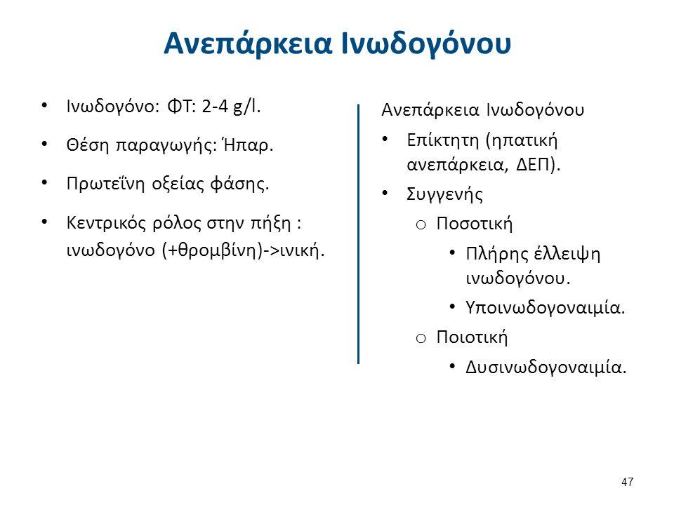 Ινωδογόνο: ΦΤ: 2-4 g/l. Θέση παραγωγής: Ήπαρ. Πρωτεΐνη οξείας φάσης. Κεντρικός ρόλος στην πήξη : ινωδογόνο (+θρομβίνη)->ινική. Ανεπάρκεια Ινωδογόνου Ε