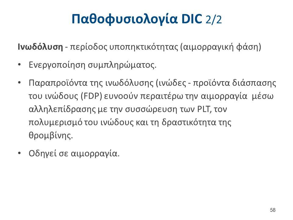 Παθοφυσιολογία DIC 2/2 Ινωδόλυση - περίοδος υποπηκτικότητας (αιμορραγική φάση) Ενεργοποίηση συμπληρώματος. Παραπροϊόντα της ινωδόλυσης (ινώδες - προϊό