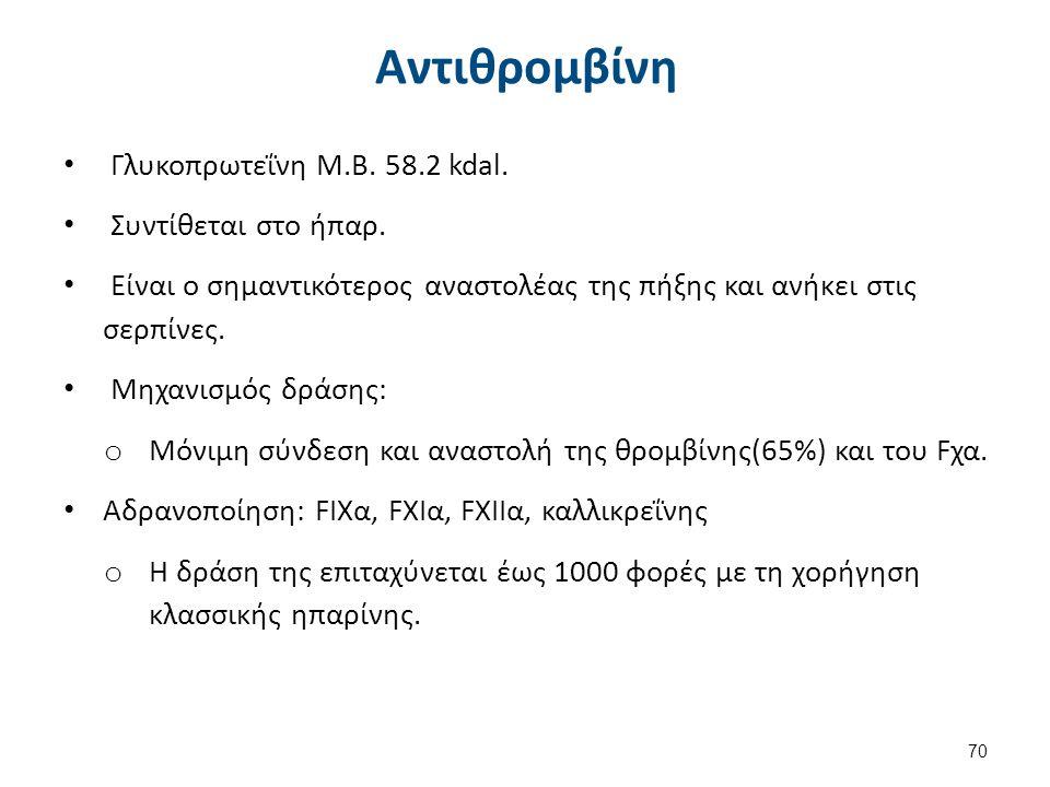Αντιθρομβίνη Γλυκοπρωτεΐνη Μ.Β. 58.2 kdal. Συντίθεται στο ήπαρ. Είναι ο σημαντικότερος αναστολέας της πήξης και ανήκει στις σερπίνες. Μηχανισμός δράση