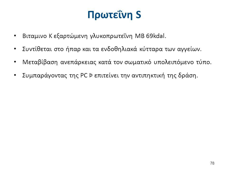 Πρωτεΐνη S Βιταμινο Κ εξαρτώμενη γλυκοπρωτεΐνη ΜΒ 69kdal. Συντίθεται στο ήπαρ και τα ενδοθηλιακά κύτταρα των αγγείων. Μεταβίβαση ανεπάρκειας κατά τον