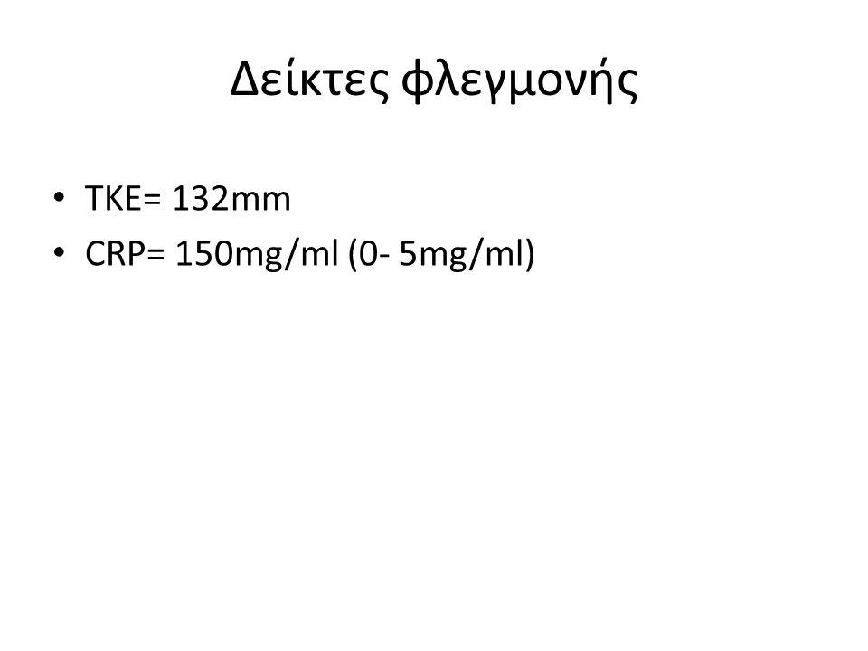 ΤΚΕ= 132mm CRP= 150mg/ml (0- 5mg/ml) Δείκτες φλεγμονής