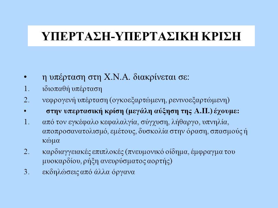ΥΠΕΡΤΑΣΗ-ΥΠΕΡΤΑΣΙΚΗ ΚΡΙΣΗ η υπέρταση στη Χ.Ν.Α.