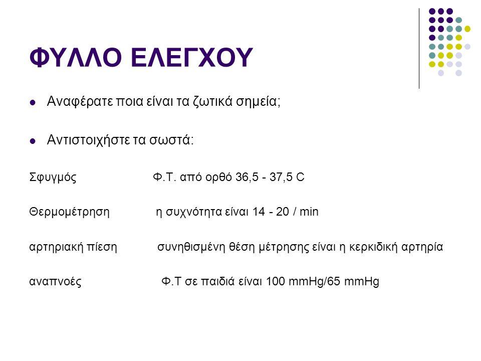 ΦΥΛΛΟ ΕΛΕΓΧΟΥ Αναφέρατε ποια είναι τα ζωτικά σημεία; Αντιστοιχήστε τα σωστά: Σφυγμός Φ.Τ. από ορθό 36,5 - 37,5 C Θερμομέτρηση η συχνότητα είναι 14 - 2