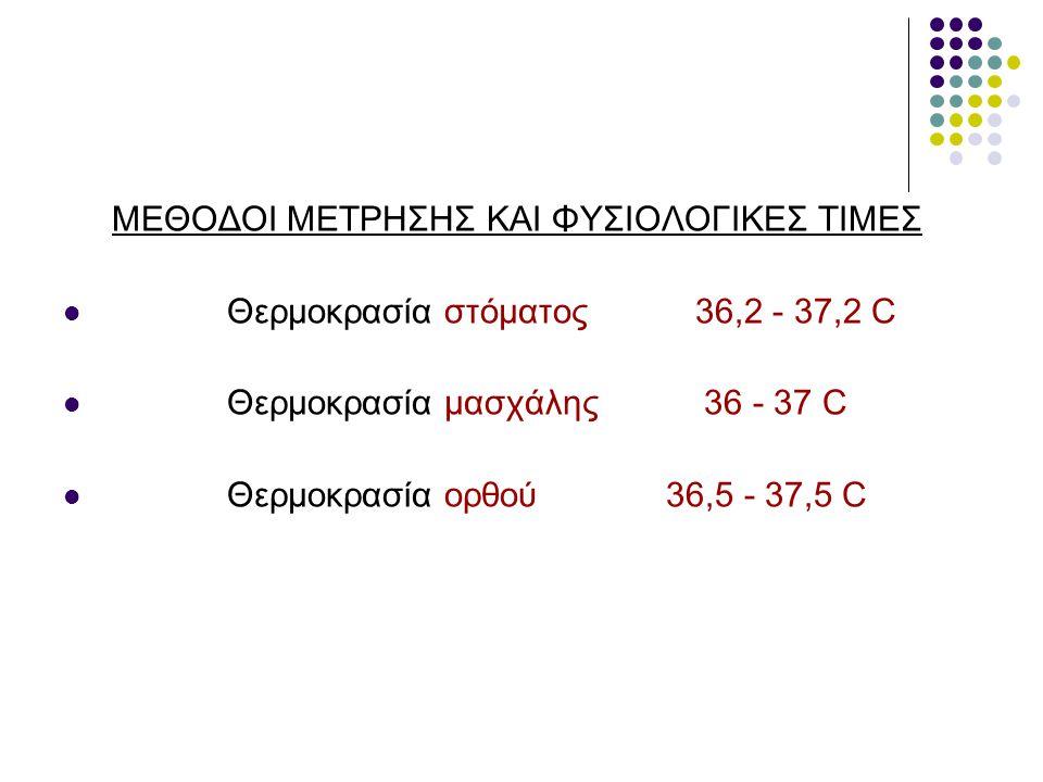 ΜΕΘΟΔΟΙ ΜΕΤΡΗΣΗΣ ΚΑΙ ΦΥΣΙΟΛΟΓΙΚΕΣ ΤΙΜΕΣ Θερμοκρασία στόματος 36,2 - 37,2 C Θερμοκρασία μασχάλης 36 - 37 C Θερμοκρασία ορθού 36,5 - 37,5 C