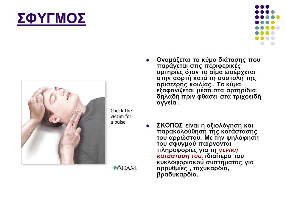 ΦΥΣΙΟΛΟΓΙΚΕΣ ΤΙΜΕΣ στον ενήλικα 70 - 80 / 1' ή 60 - 80 / 1 Πάνω από 100 σφύξεις ανά πρώτο λεπτό, οφείλεται σε ταχυκαρδία και λέγεται ταχυσφυγμία.