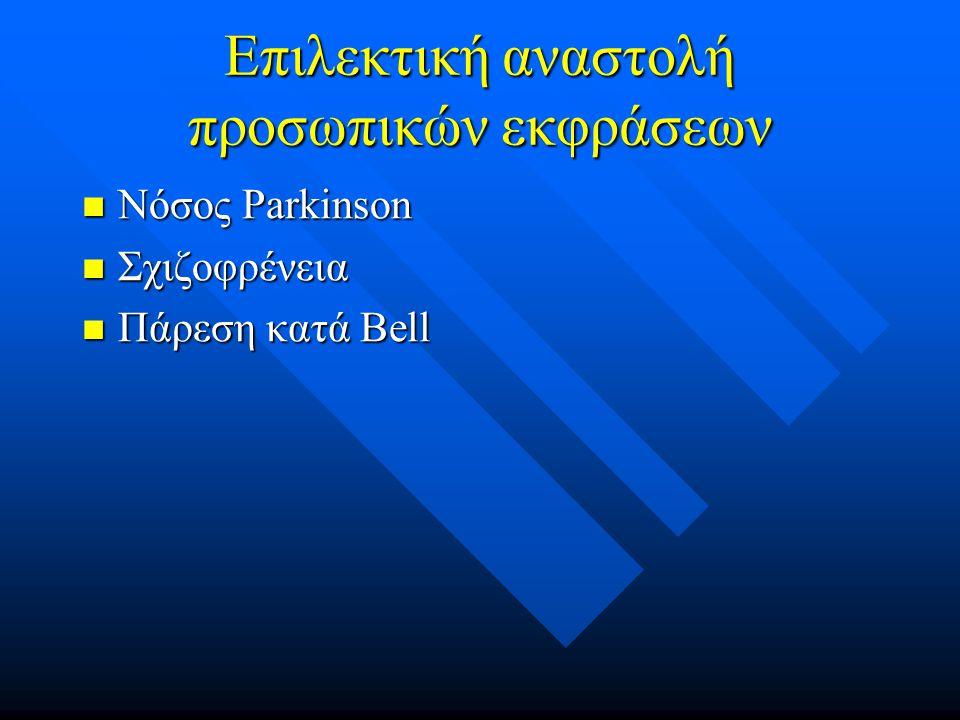 Επιλεκτική αναστολή προσωπικών εκφράσεων Νόσος Parkinson Νόσος Parkinson Σχιζοφρένεια Σχιζοφρένεια Πάρεση κατά Bell Πάρεση κατά Bell