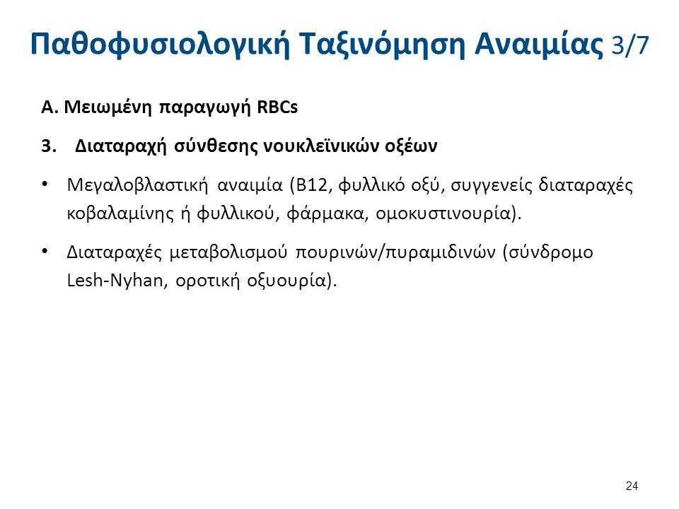 Παθοφυσιολογική Ταξινόμηση Αναιμίας 3/7 Α. Μειωμένη παραγωγή RBCs 3.Διαταραχή σύνθεσης νουκλεϊνικών οξέων Μεγαλοβλαστική αναιμία (Β12, φυλλικό οξύ, συ