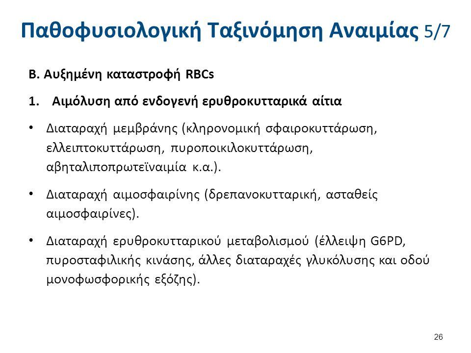 Παθοφυσιολογική Ταξινόμηση Αναιμίας 5/7 Β. Αυξημένη καταστροφή RBCs 1.Αιμόλυση από ενδογενή ερυθροκυτταρικά αίτια Διαταραχή μεμβράνης (κληρονομική σφα