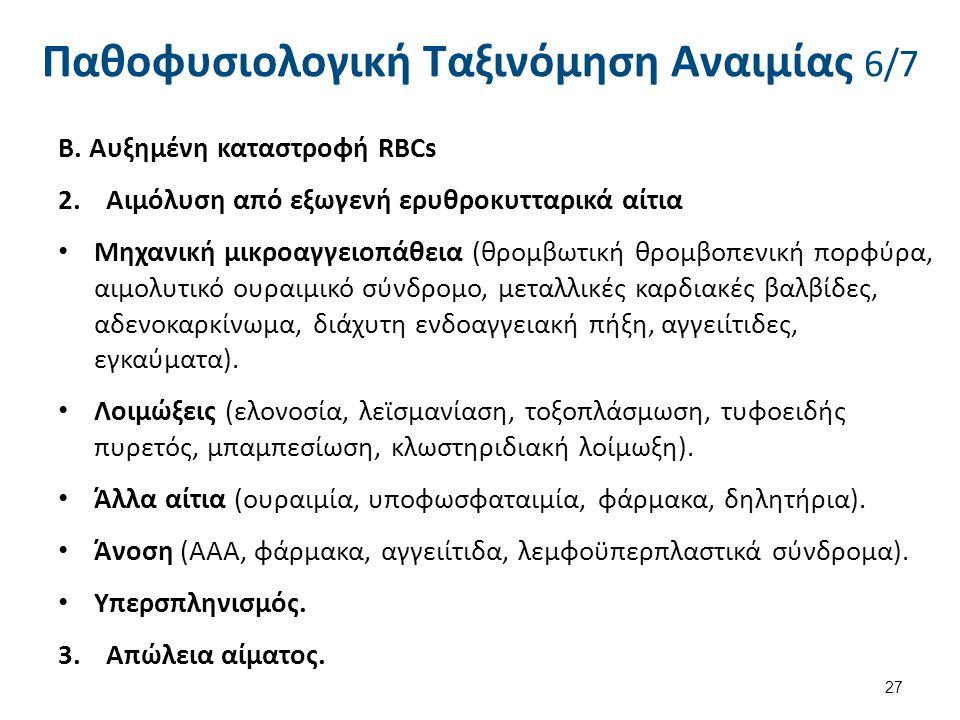 Παθοφυσιολογική Ταξινόμηση Αναιμίας 6/7 Β. Αυξημένη καταστροφή RBCs 2.Αιμόλυση από εξωγενή ερυθροκυτταρικά αίτια Μηχανική μικροαγγειοπάθεια (θρομβωτικ