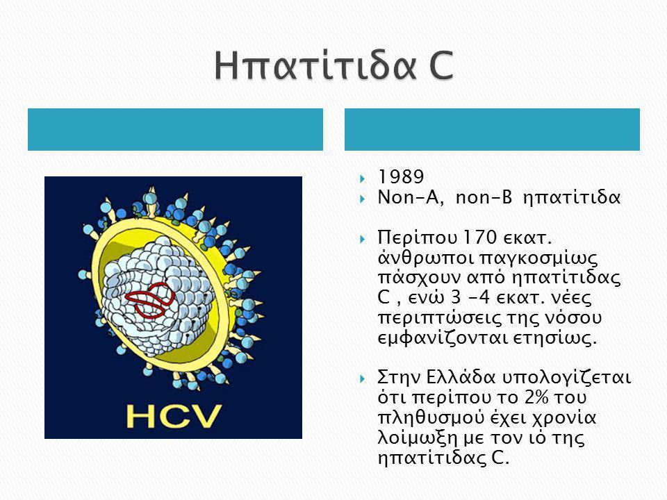  1989  Νon-A, non-B ηπατίτιδα  Περίπου 170 εκατ. άνθρωποι παγκοσμίως πάσχουν από ηπατίτιδας C, ενώ 3 -4 εκατ. νέες περιπτώσεις της νόσου εμφανίζοντ