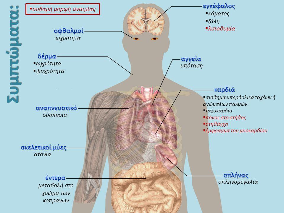 Συμπτώματα: σπλήνας σπληνομεγαλία καρδιά  αίσθημα υπερβολικά ταχέων ή ανώμαλων παλμών  ταχυκαρδία  πόνος στο στήθος  στηθάγχη  έμφραγμα του μυοκα