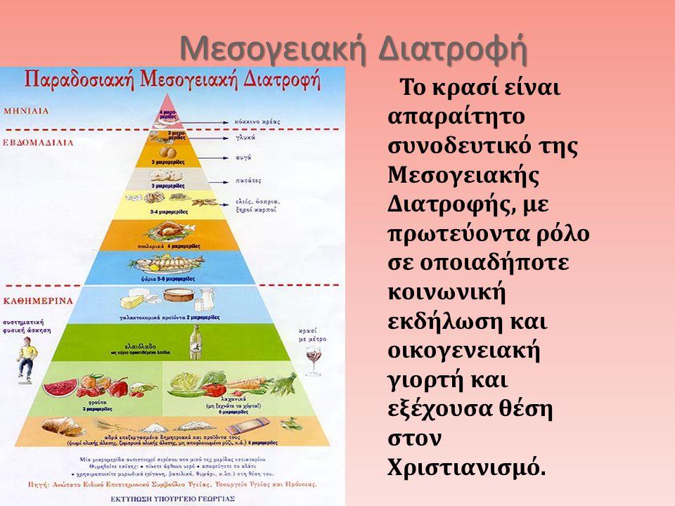 Μεσογειακή Διατροφή Το κρασί είναι απαραίτητο συνοδευτικό της Μεσογειακής Διατροφής, με πρωτεύοντα ρόλο σε οποιαδήποτε κοινωνική εκδήλωση και οικογενειακή γιορτή και εξέχουσα θέση στον Χριστιανισμό.
