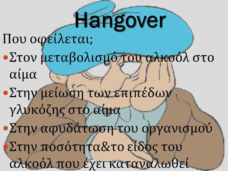 Hangover Που οφείλεται ; Στον μεταβολισμό του αλκοόλ στο αίμα Στην μείωση των επιπέδων γλυκόζης στο αίμα Στην αφυδάτωση του οργανισμού Στην ποσότητα & το είδος του αλκοόλ που έχει καταναλωθεί