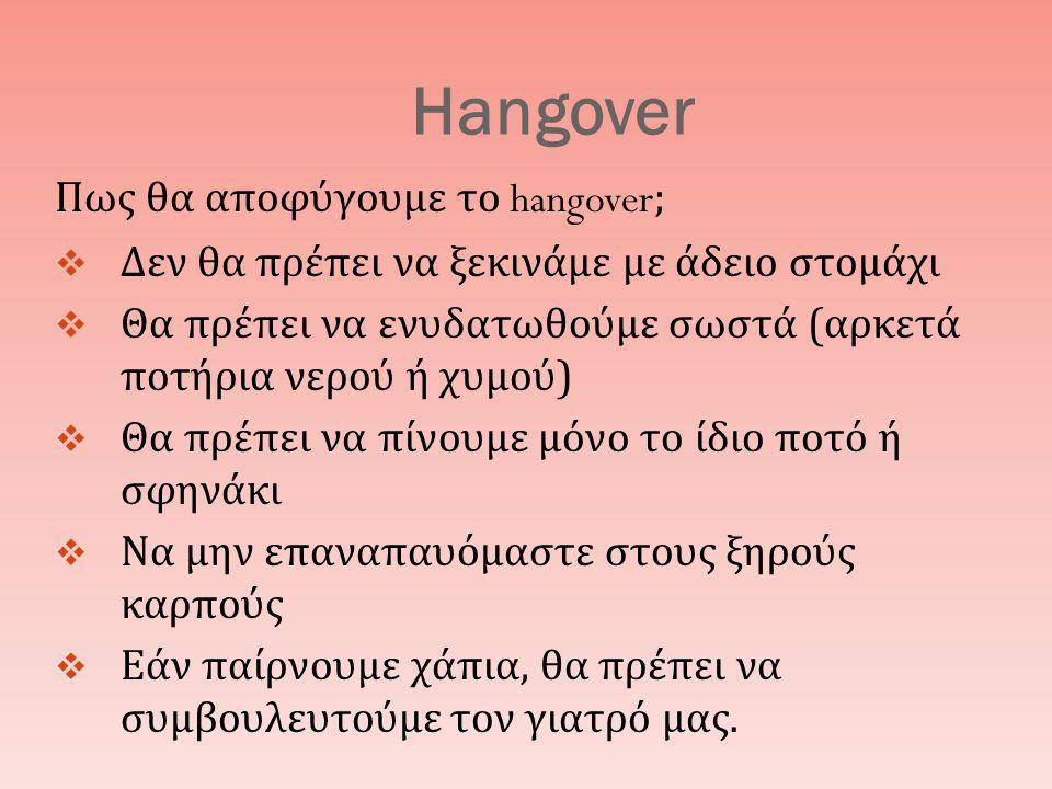 Hangover Πως θα αποφύγουμε το hangover;  Δεν θα πρέπει να ξεκινάμε με άδειο στομάχι  Θα πρέπει να ενυδατωθούμε σωστά ( αρκετά ποτήρια νερού ή χυμού )  Θα πρέπει να πίνουμε μόνο το ίδιο ποτό ή σφηνάκι  Να μην επαναπαυόμαστε στους ξηρούς καρπούς  Εάν παίρνουμε χάπια, θα πρέπει να συμβουλευτούμε τον γιατρό μας.