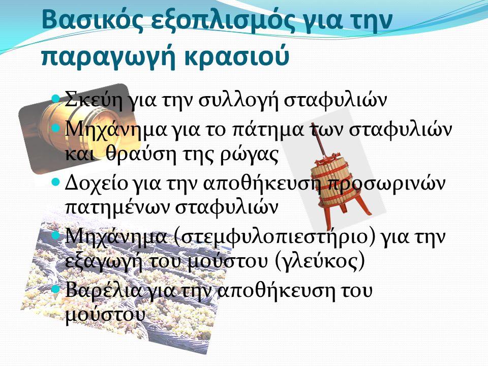 Βασικός εξοπλισμός για την παραγωγή κρασιού Σκεύη για την συλλογή σταφυλιών Μηχάνημα για το πάτημα των σταφυλιών και θραύση της ρώγας Δοχείο για την αποθήκευση προσωρινών πατημένων σταφυλιών Μηχάνημα (στεμφυλοπιεστήριο) για την εξαγωγή του μούστου (γλεύκος) Βαρέλια για την αποθήκευση του μούστου