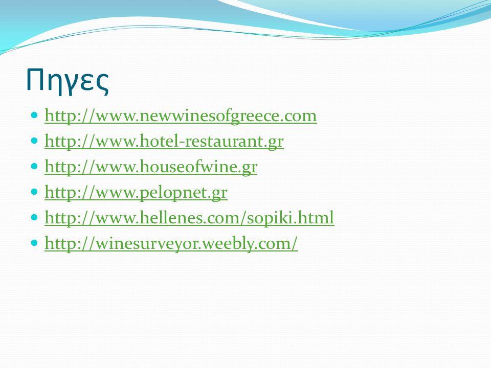 Πηγες http://www.newwinesofgreece.com http://www.hotel-restaurant.gr http://www.houseofwine.gr http://www.pelopnet.gr http://www.hellenes.com/sopiki.html http://winesurveyor.weebly.com/