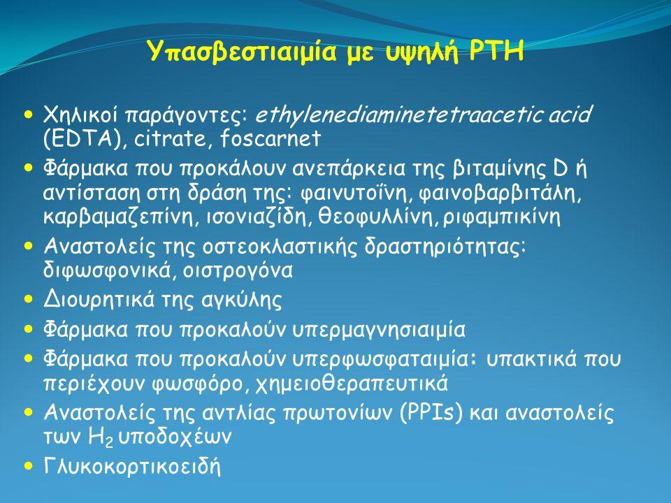 Υπασβεστιαιμία με υψηλή PTH Χηλικοί παράγοντες: ethylenediaminetetraacetic acid (EDTA), citrate, foscarnet Φάρμακα που προκάλουν ανεπάρκεια της βιταμί