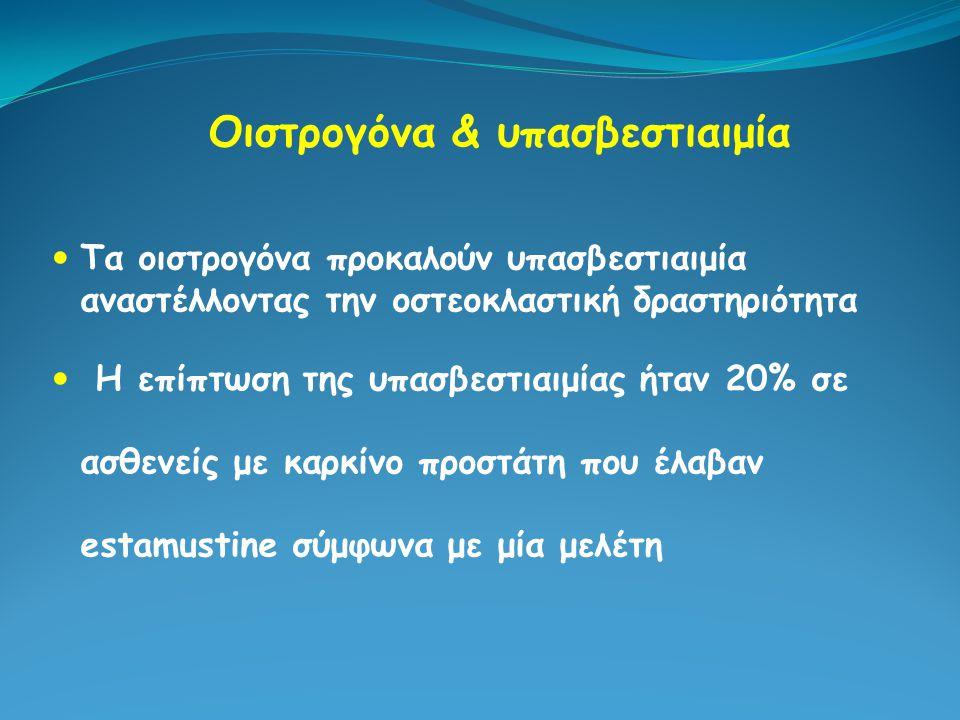 Οιστρογόνα & υπασβεστιαιμία Τα οιστρογόνα προκαλούν υπασβεστιαιμία αναστέλλοντας την οστεοκλαστική δραστηριότητα Η επίπτωση της υπασβεστιαιμίας ήταν 2