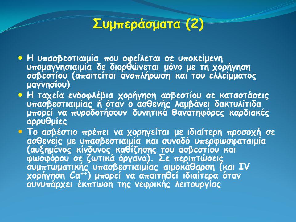 Συμπεράσματα (2) Η υπασβεστιαιμία που οφείλεται σε υποκείμενη υπομαγνησιαιμία δε διορθώνεται μόνο με τη χορήγηση ασβεστίου (απαιτείται αναπλήρωση και
