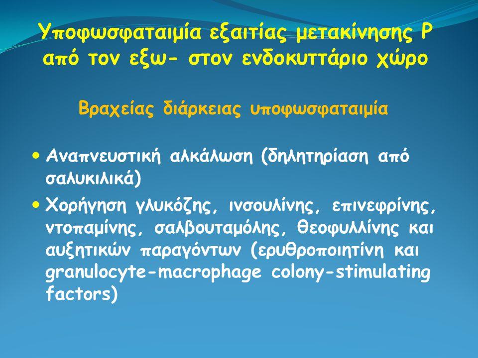 Υποφωσφαταιμία εξαιτίας μετακίνησης Ρ από τον εξω- στον ενδοκυττάριο χώρο Αναπνευστική αλκάλωση (δηλητηρίαση από σαλυκιλικά) Χορήγηση γλυκόζης, ινσουλ