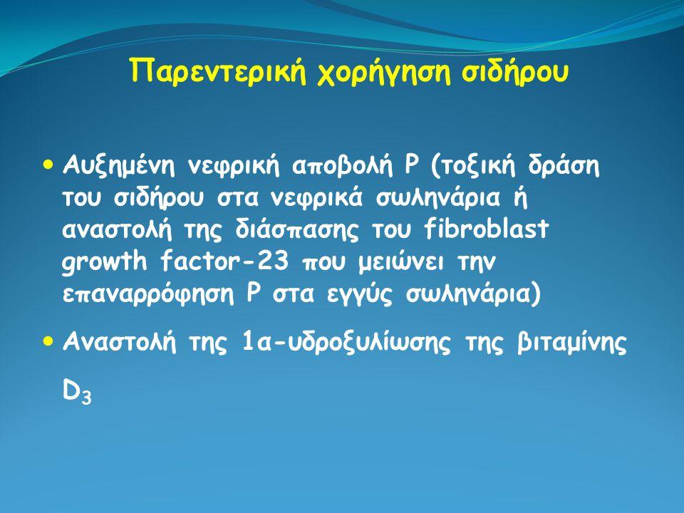 Παρεντερική χορήγηση σιδήρου Αυξημένη νεφρική αποβολή Ρ (τοξική δράση του σιδήρου στα νεφρικά σωληνάρια ή αναστολή της διάσπασης του fibroblast growth
