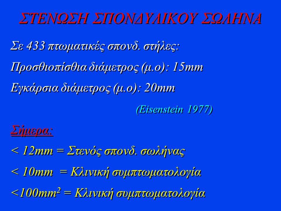 ΣΤΕΝΩΣΗ ΣΠΟΝΔΥΛΙΚΟΥ ΣΩΛΗΝΑ Σε 433 πτωματικές σπονδ. στήλες: Προσθιοπίσθια διάμετρος (μ.ο): 15mm Εγκάρσια διάμετρος (μ.ο): 20mm (Eisenstein 1977) Σήμερ
