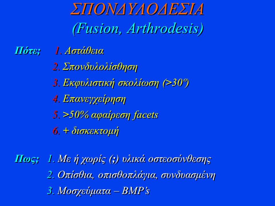 ΣΠΟΝΔΥΛΟΔΕΣΙΑ (Fusion, Arthrodesis) Πότε; 1. Aστάθεια 2. Σπονδυλολίσθηση 3. Εκφυλιστική σκολίωση (>30º) 4. Επανεγχείρηση 5. >50% αφαίρεση facets 6. +