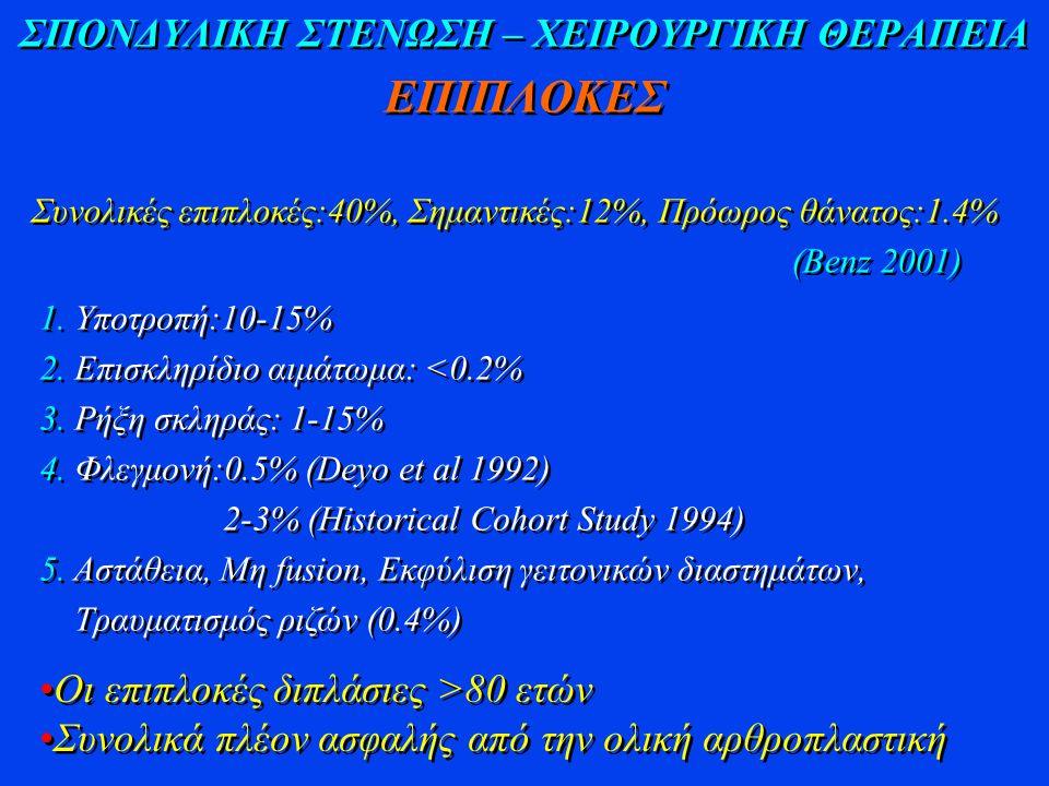 ΣΠΟΝΔΥΛΙΚΗ ΣΤΕΝΩΣΗ – ΧΕΙΡΟΥΡΓΙΚΗ ΘΕΡΑΠΕΙΑ ΕΠΙΠΛΟΚΕΣ Συνολικές επιπλοκές:40%, Σημαντικές:12%, Πρόωρος θάνατος:1.4% (Benz 2001) Συνολικές επιπλοκές:40%,