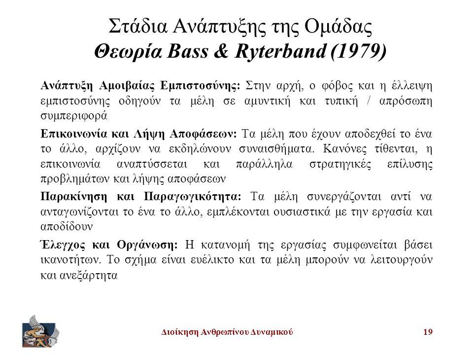 Διοίκηση Ανθρωπίνου Δυναμικού19 Στάδια Ανάπτυξης της Ομάδας Θεωρία Bass & Ryterband (1979) Ανάπτυξη Αμοιβαίας Εμπιστοσύνης: Στην αρχή, ο φόβος και η έλλειψη εμπιστοσύνης οδηγούν τα μέλη σε αμυντική και τυπική / απρόσωπη συμπεριφορά Επικοινωνία και Λήψη Αποφάσεων: Τα μέλη που έχουν αποδεχθεί το ένα το άλλο, αρχίζουν να εκδηλώνουν συναισθήματα.
