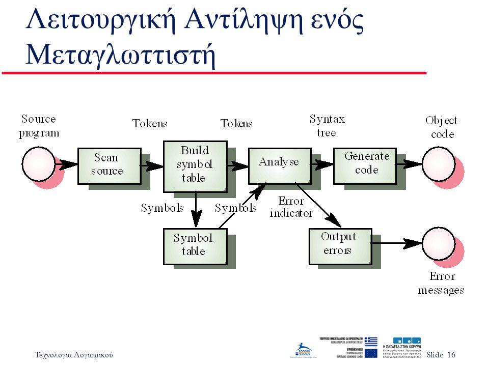 Τεχνολογία ΛογισμικούSlide 16 Λειτουργική Αντίληψη ενός Μεταγλωττιστή