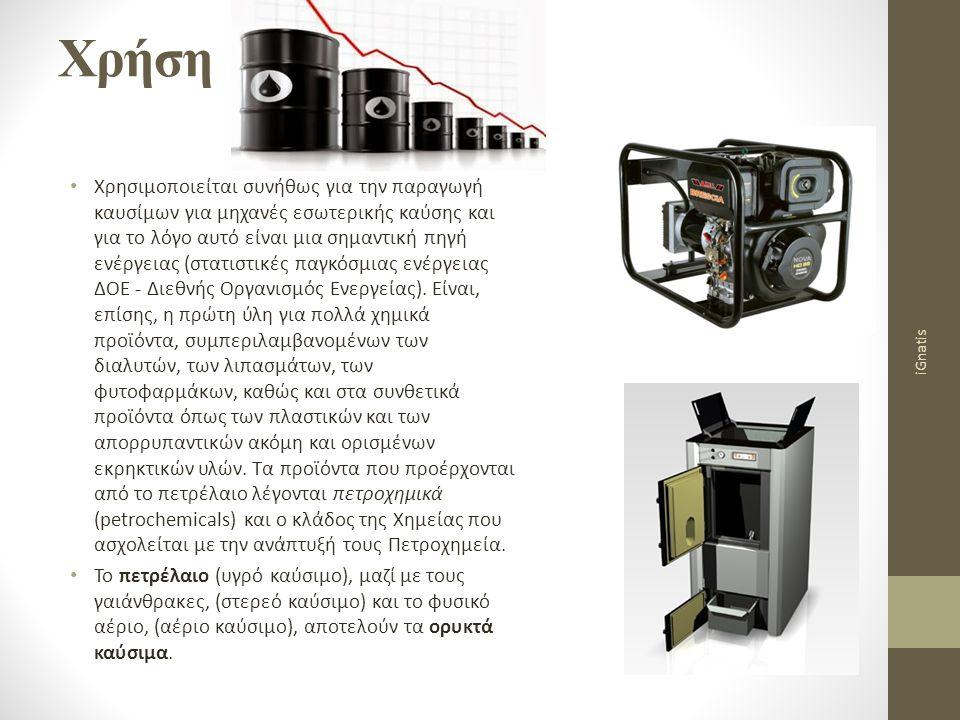 Χρήση Χρησιμοποιείται συνήθως για την παραγωγή καυσίμων για μηχανές εσωτερικής καύσης και για το λόγο αυτό είναι μια σημαντική πηγή ενέργειας (στατιστ