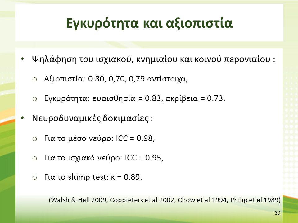 Εγκυρότητα και αξιοπιστία Ψηλάφηση του ισχιακού, κνημιαίου και κοινού περονιαίου : o Αξιοπιστία: 0.80, 0,70, 0,79 αντίστοιχα, o Εγκυρότητα: ευαισθησία