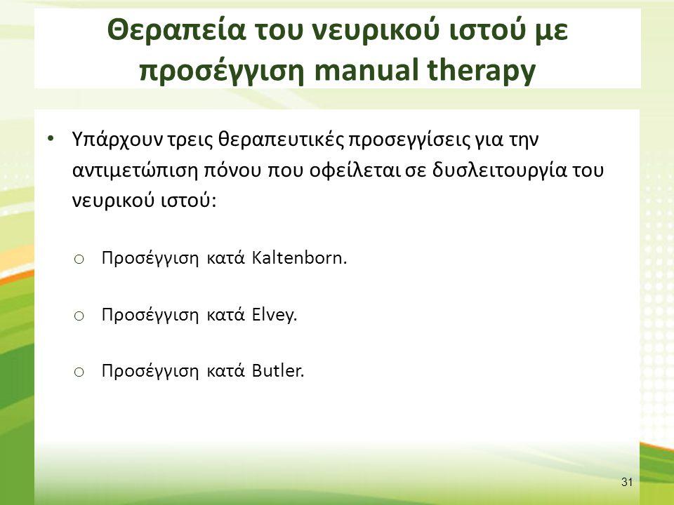 Θεραπεία του νευρικού ιστού με προσέγγιση manual therapy Υπάρχουν τρεις θεραπευτικές προσεγγίσεις για την αντιμετώπιση πόνου που οφείλεται σε δυσλειτο