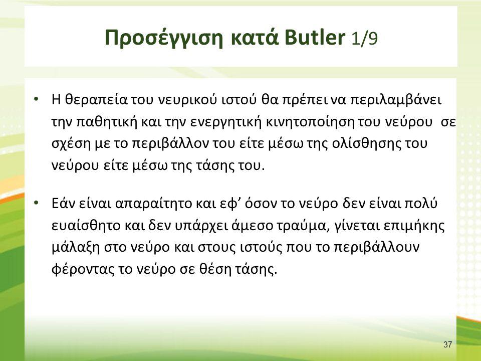Προσέγγιση κατά Butler 1/9 Η θεραπεία του νευρικού ιστού θα πρέπει να περιλαμβάνει την παθητική και την ενεργητική κινητοποίηση του νεύρου σε σχέση με